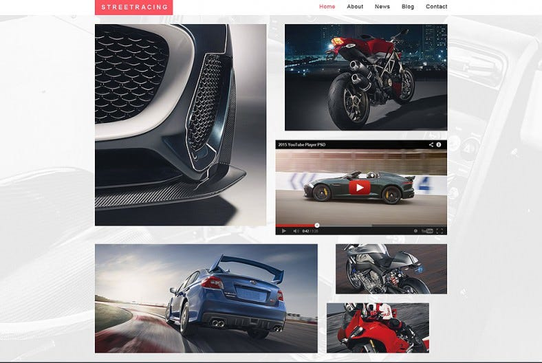 White Background Website Template for Street Racing