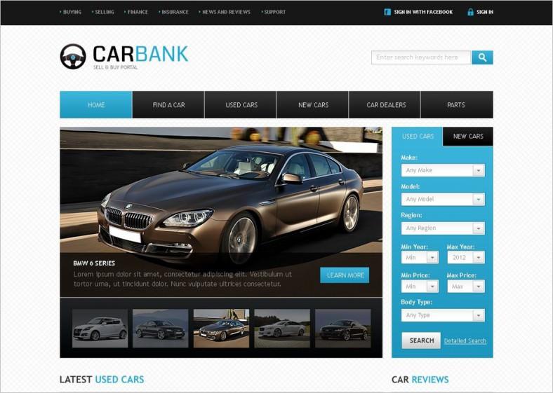 White Background Website Themes for Car Dealer