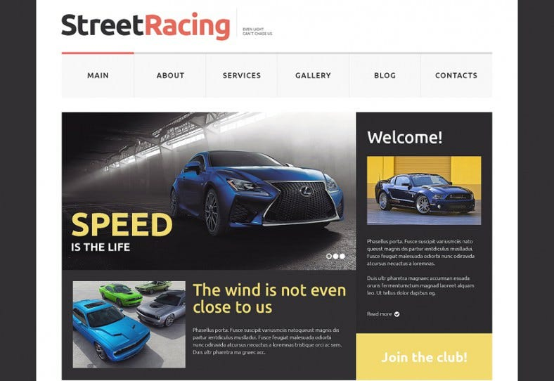 white black website template for car racing 788x542