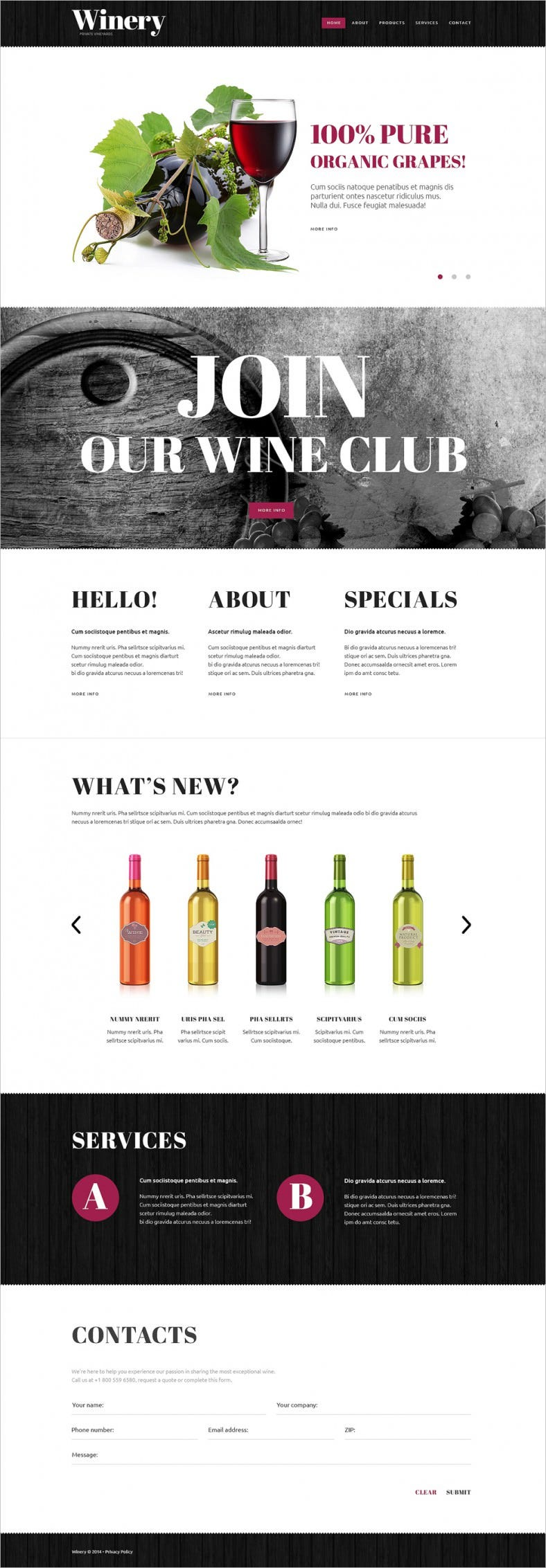 White & Black Website Template for Wines Shop