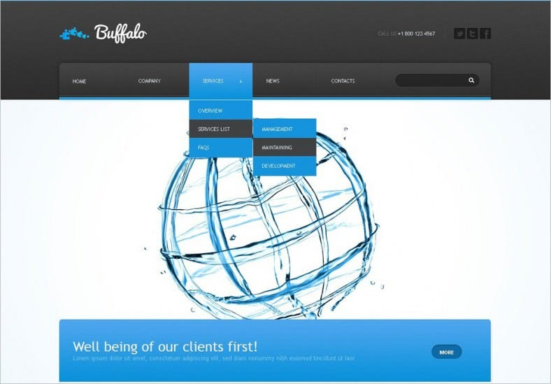 White & Blue Website Template for Advertising Agency