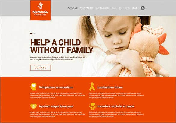 white orange website template for child charity