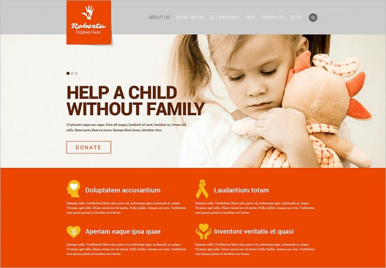White & Orange Website Template for Child Charity.