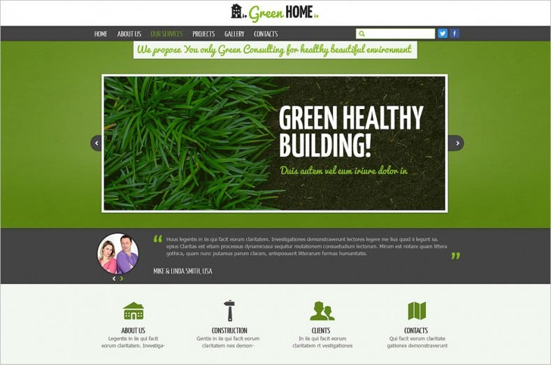 White and Green Exterior Website Template