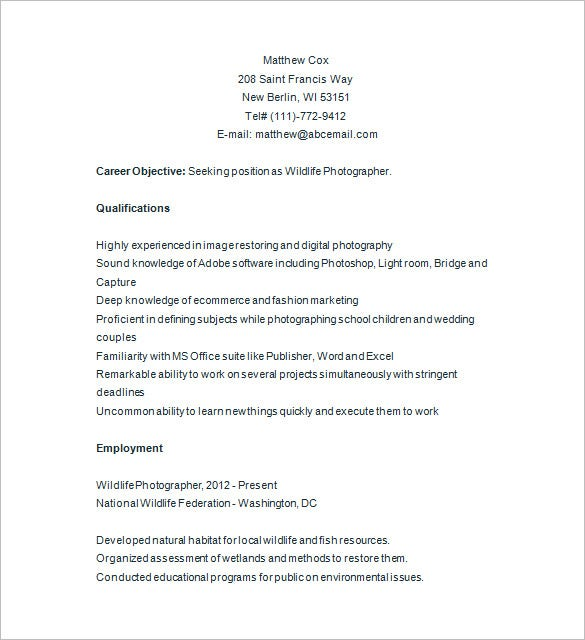 Digital Photographer Resume  CityEsporaCo