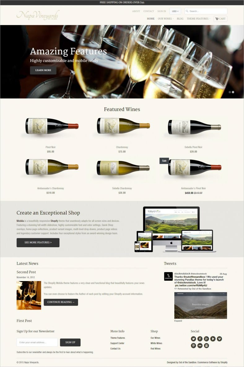 Wine Store Ecommerce Websit Template Free Download