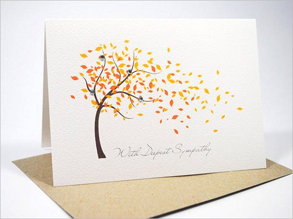 Sympathy card template 17 free sample example format download this sympathy card messages example is one of the deepest and sincere ones it shows the drawing of a tree shedding leaves the red and yellow leaves look solutioingenieria Images