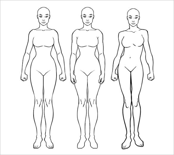 woman body outline template printable