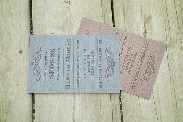 wooden bridal shower invitation card download
