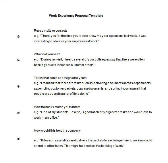 work experience proposal template free download