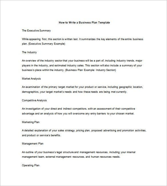 write a business plan outline template