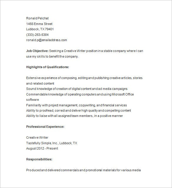 writer resume format template