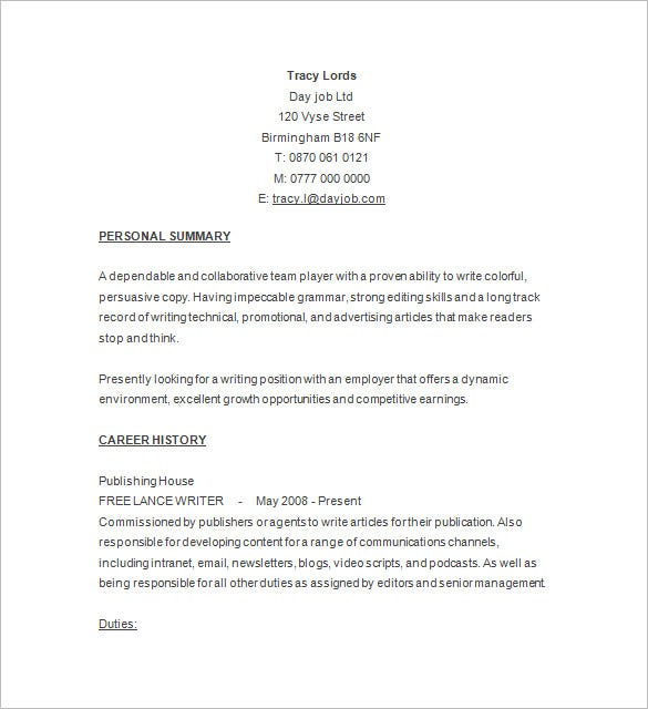 writer sample resume free download - Write A Resume For Free