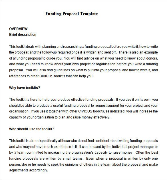 writing format of a funding proposal