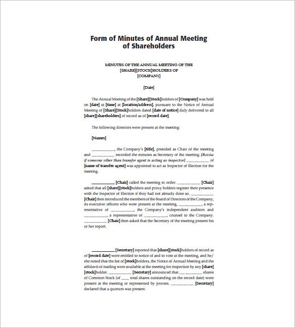 Corporate meeting minutes templates 12 free sample for Minutes of shareholders meeting template