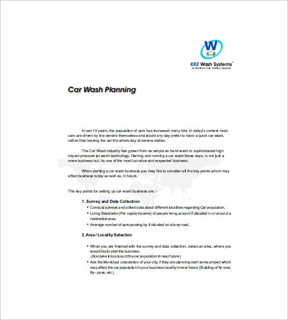 16 Car Wash Business Plan Template Free Word Excel Pdf Format