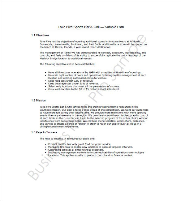 Bar Business Plan Template   Free Word Excel Pdf Format