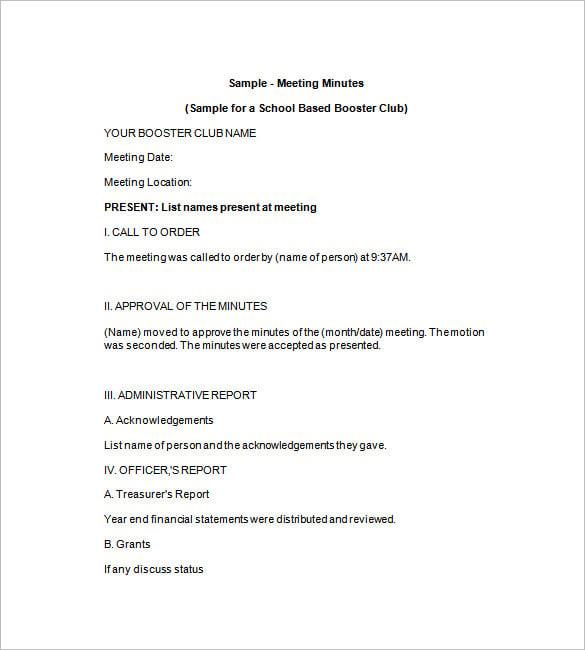 Proper Format For Meeting Minutes Sei80.Com 2017