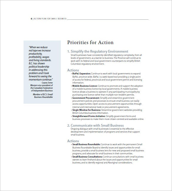 business action plan example