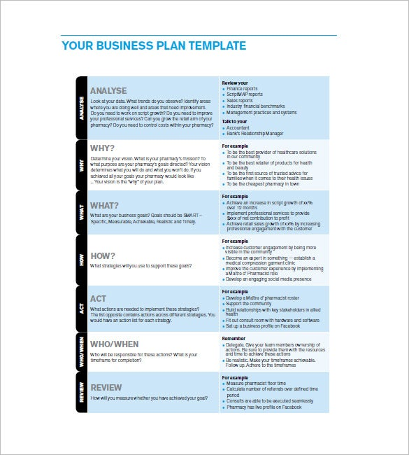 Business Action Plan Template Free Word Excel PDF Format - Business plan template excel