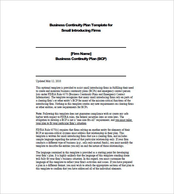 Business Continuity Plan Template Free Word Excel PDF - Business continuity plan template
