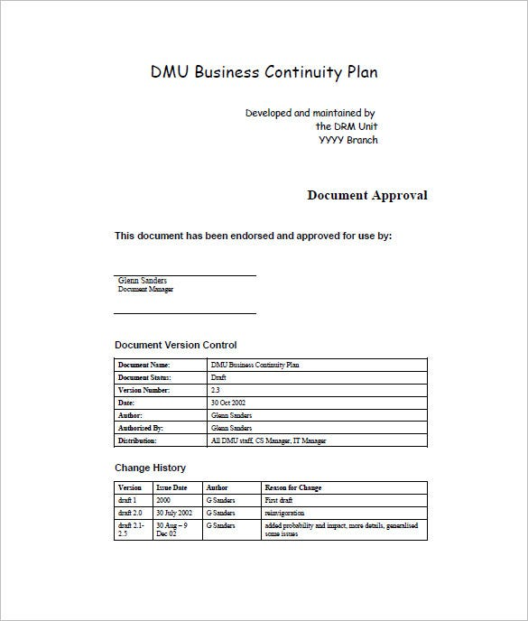 Business Continuity Plan Template 12 Free Word Excel PDF – Sample Business Continuity Plan Small Business