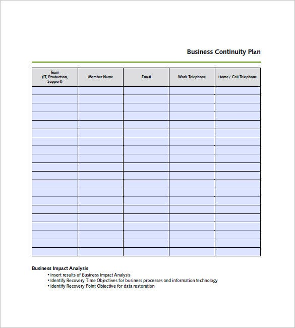 Business continuity plan template 12 free word excel for It backup plan template