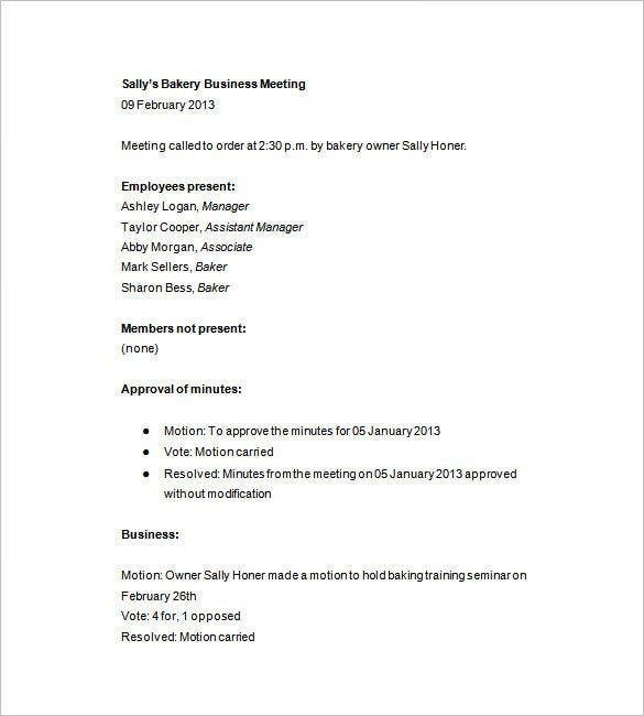 Business Meeting Minutes Template   Free Sample Example Format