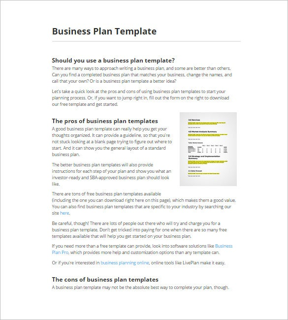 Software Business Plan Template Peccadillous - Online business plan template