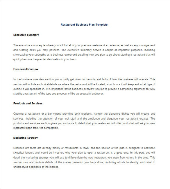 Restaurant Business Plan Template 9 Free Word Excel PDF – Business Strategy Template Word
