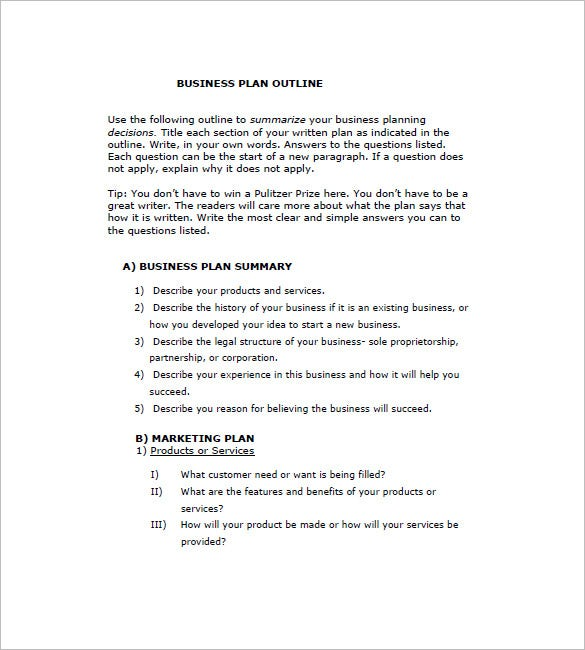 business plan outline pdf