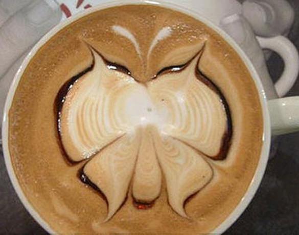 butterfly latte art coffee
