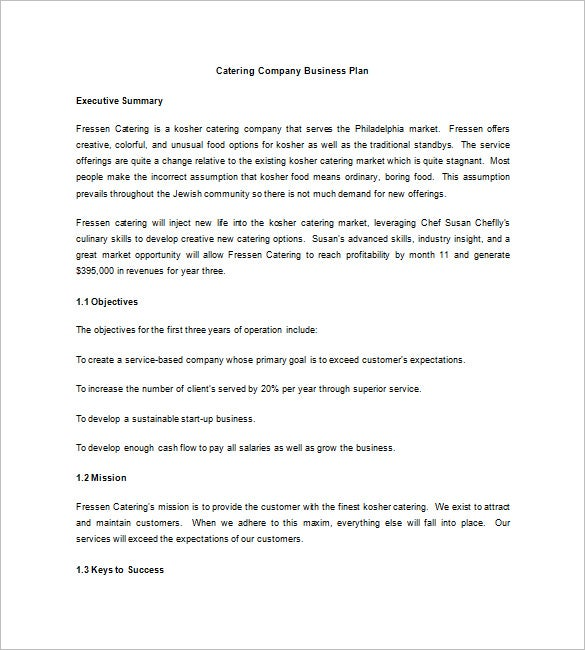 Catering Business Plan Template   Free Word Excel  Format