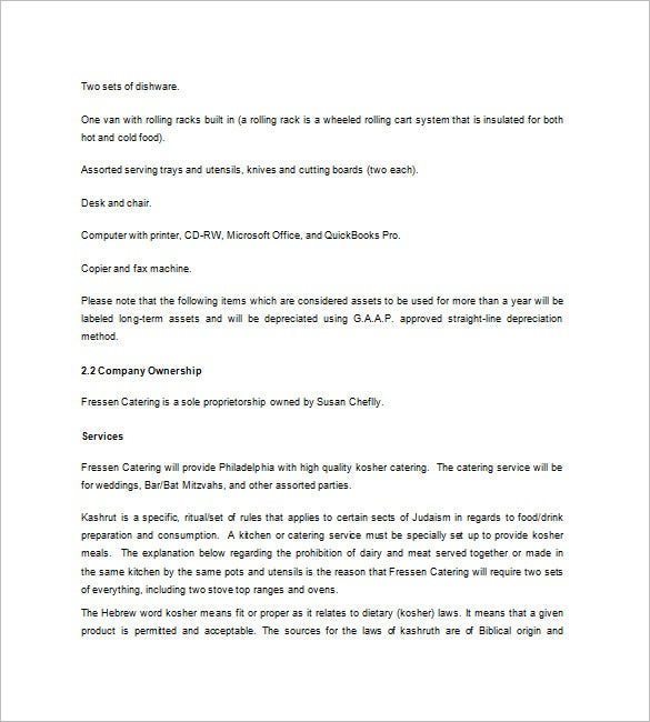 Catering Business Plan Templates  Free Sample Example Format