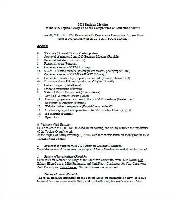 church business meeting minutes template