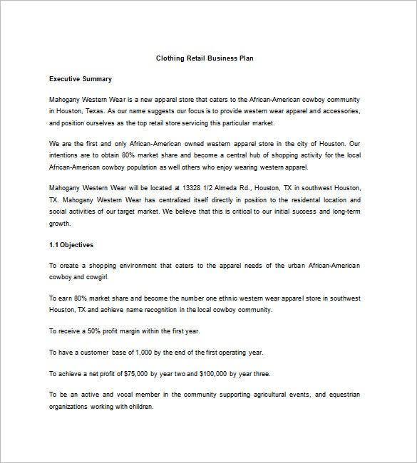 Online store business plan document