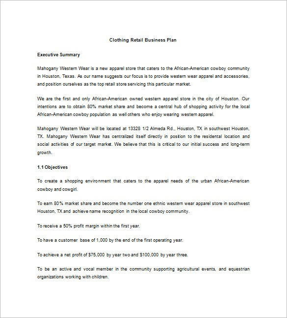 Retail Business Plan Template Free Sample Example Format - Clothing business plan template