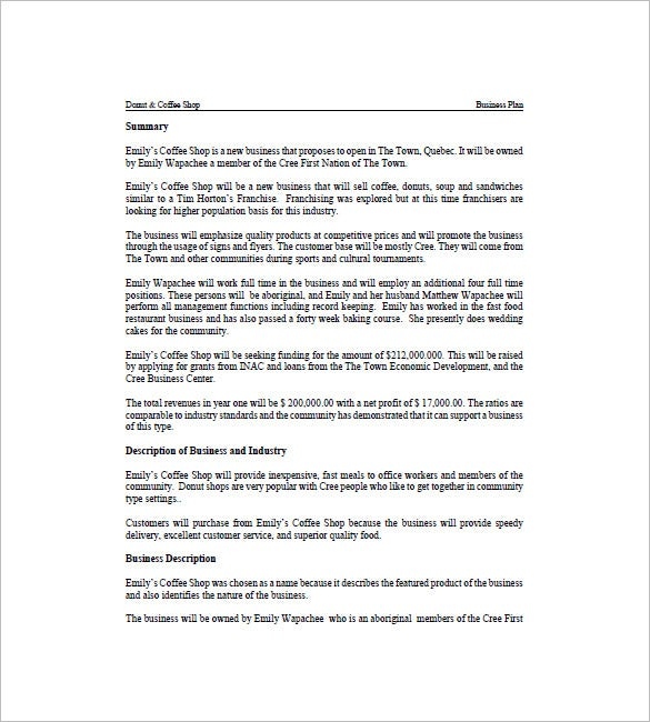 coffee shop business plan template 13 free word excel pdf