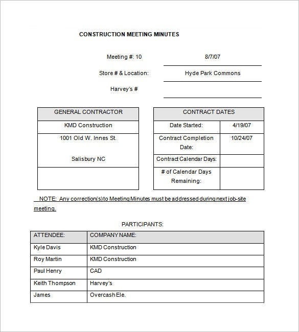 construction project meeting minutes template free download