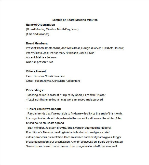 Corporate Board Of Directors Meeting Minutes Template
