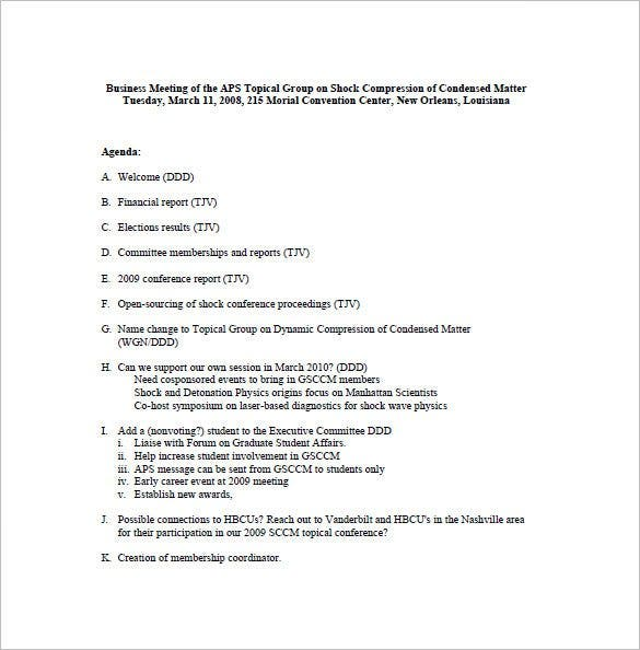 Corporate Business Meeting Minute Template  Minutes Example