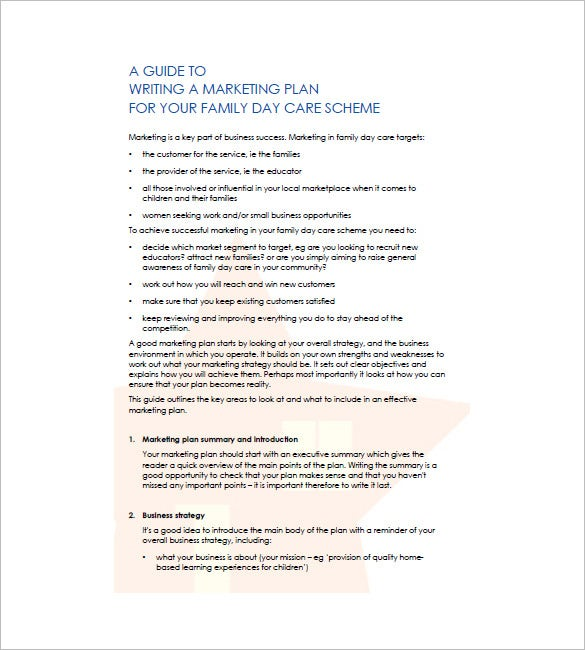 Daycare Business Plan Template Free Word Excel PDF Format - Daycare business plan template