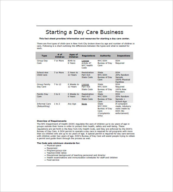 Sample Business Plan For Daycare