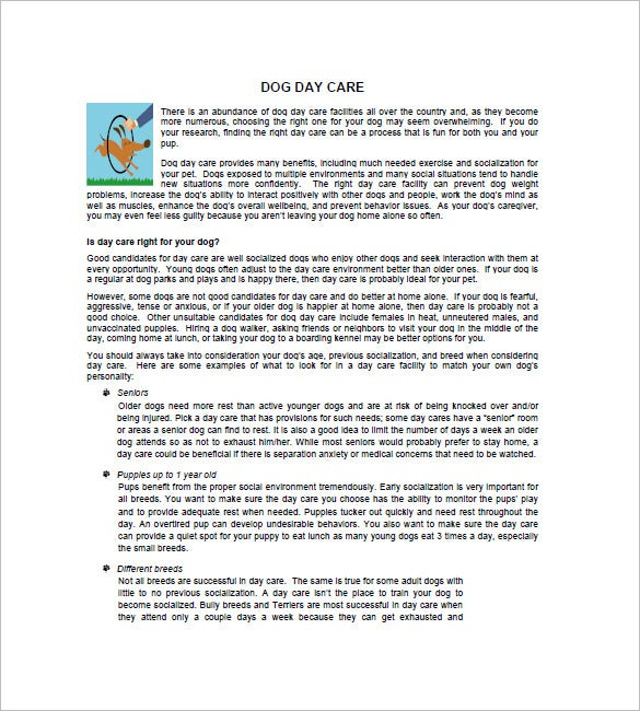 Daycare business plan template 12 free word excel pdf format doggie daycare business plan accmission Choice Image