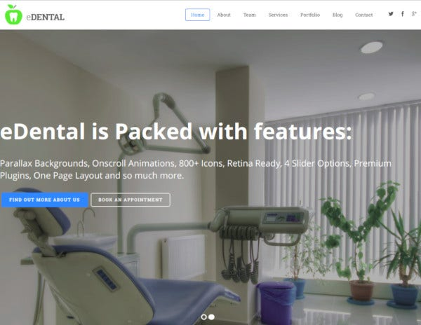 edental parallax responsive one page theme