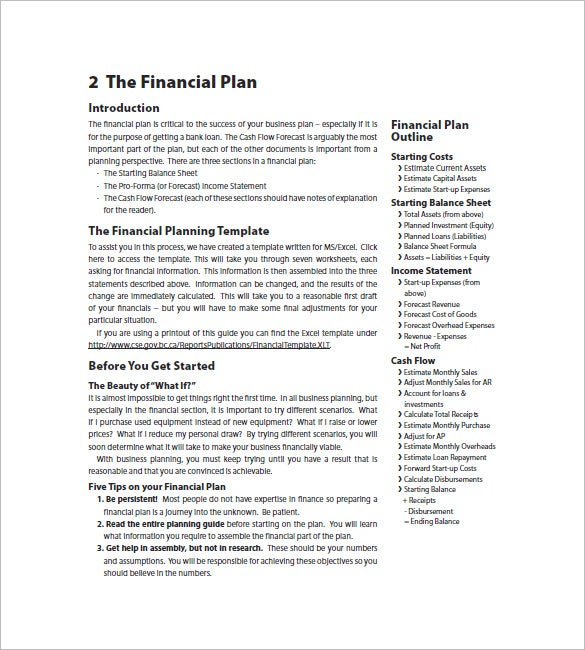 financial business plan template 13 free word excel pdf format