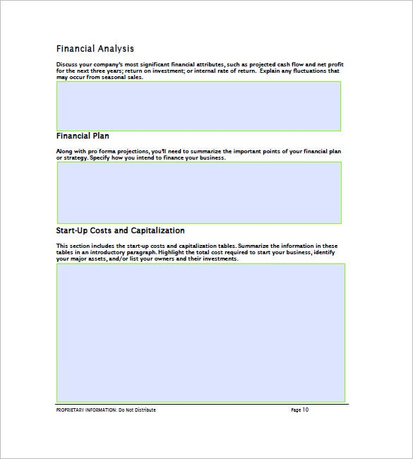 Financial Business Plan Template Free Word Excel PDF - Business plan for startup template