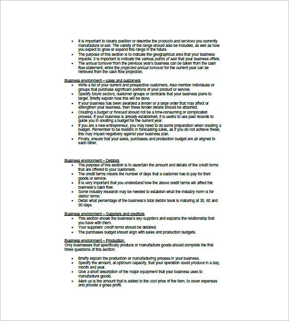 Financial Business Plan Template   Free Word Excel Pdf Format