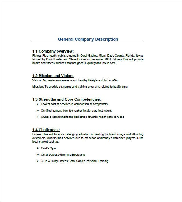 Physical Fitness Gym Business Plan Template