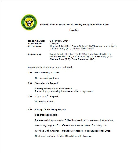 football club minutes meeting minutes template